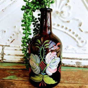 Antique Glass Brown Bottle Vase Hand Painted